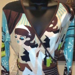 🌷EUC Wrap Shirt ~ Profile Brand Size Med/Large💐